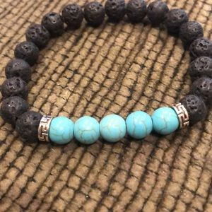 Blue/Black Lava type bracelet (#634)